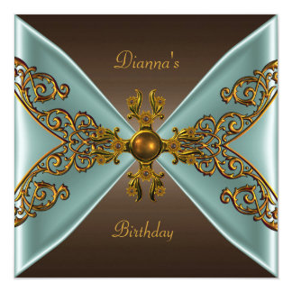 """Elegant Birthday Coffee Brown Old Gold Teal 5.25"""" Square Invitation Card"""