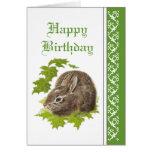 Elegant  Birthday, Cute Bunny Rabbit Greeting Card