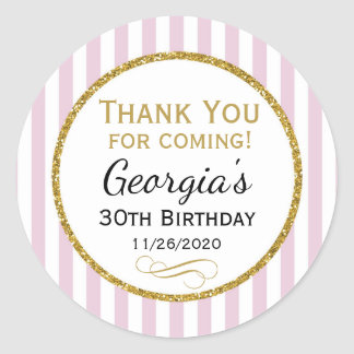 Elegant Birthday Favor Tags Pink Gold Thank You Round Sticker