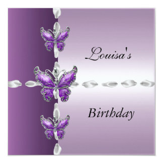 Elegant Birthday Invite Lilac Purple Butterfly