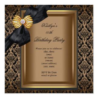 Elegant Birthday Party Black Damask Coffee Gold 13 Cm X 13 Cm Square Invitation Card