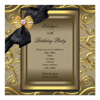 Elegant Birthday Party Black Damask Coffee Gold Custom Announcements