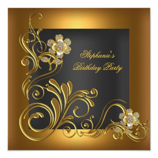 Elegant Birthday Party Black Gold Flower Personalised Announcement