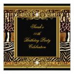 Elegant Birthday Party Black Gold Mixed Animal 13 Cm X 13 Cm Square Invitation Card