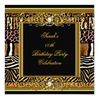 Elegant Birthday Party Black Gold Mixed Animal 5.25x5.25 Square Paper Invitation Card