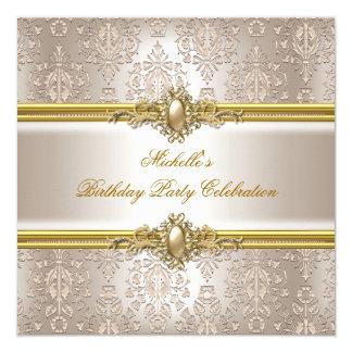 Elegant Birthday Party Damask Cream Gold Pearl 2 Invite