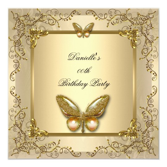 Elegant Birthday Party Gold Beige Butterfly Card
