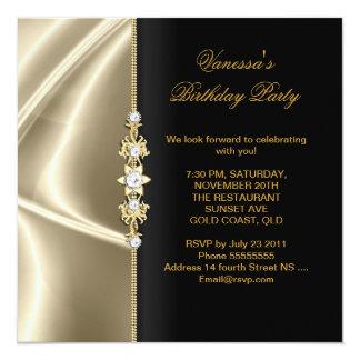 Elegant Birthday Party Gold Black Cream 13 Cm X 13 Cm Square Invitation Card