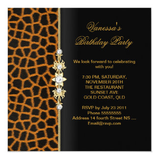 Elegant Birthday Party Gold Black Orange Animal 13 Cm X 13 Cm Square Invitation Card