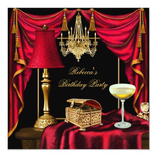 Elegant Birthday Party Gold Black Red Luxury Card
