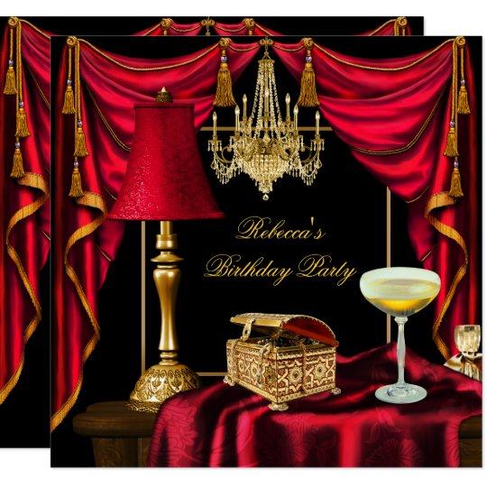 Elegant Birthday Party Gold Black Red Luxury Invitation