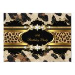 Elegant Birthday Party Leopard Gold Animal 11 Cm X 16 Cm Invitation Card