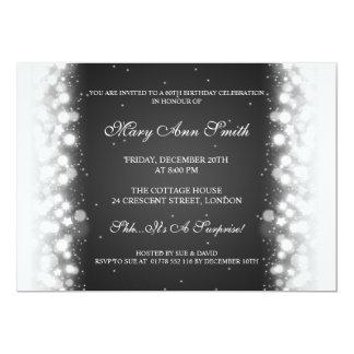 Elegant Birthday Party Magic Sparkle Black Personalized Invites