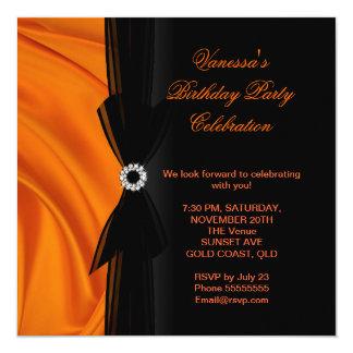 "Elegant Birthday Party Orange Silk Black 5.25"" Square Invitation Card"