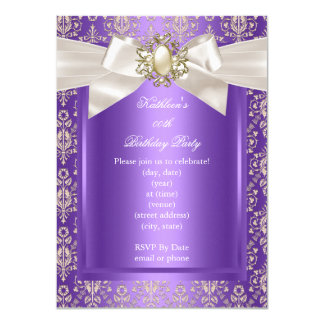 Elegant Birthday Party Purple Damask Pearl Cream 11 Cm X 16 Cm Invitation Card