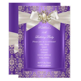 Elegant Birthday Party Purple Damask Pearl Cream Card