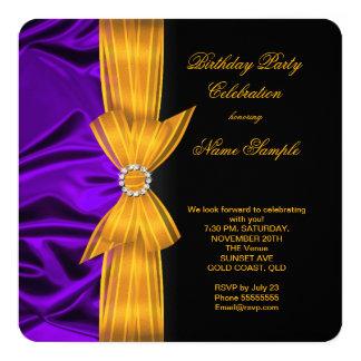Elegant Birthday Party Purple Silk Yellow Orange 13 Cm X 13 Cm Square Invitation Card