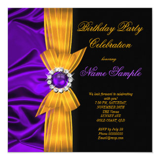 Elegant Birthday Party Purple Silk Yellow Orange 2 13 Cm X 13 Cm Square Invitation Card