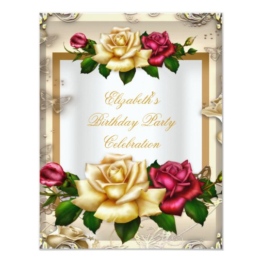 Elegant Birthday Party Roses White Gold Red Cream
