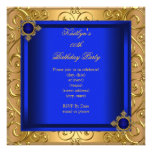 Elegant Birthday Party Royal Blue Damask Gold Personalized Invitations