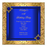 Elegant Birthday Party Royal Blue Damask Gold Personalized Invitations