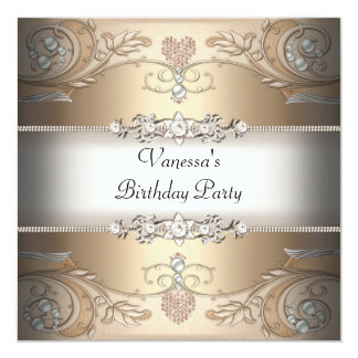 Elegant Birthday Party Sepia Coffee Beige 5.25x5.25 Square Paper Invitation Card