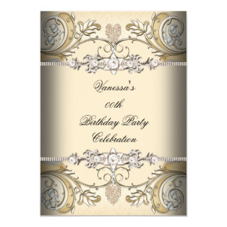 Elegant Birthday Party Sepia Coffee Gold 13 Cm X 18 Cm Invitation Card