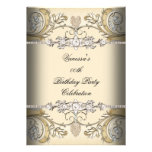 Elegant Birthday Party Sepia Coffee Gold Personalised Announcement