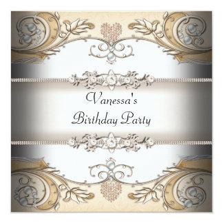 Elegant Birthday Party Sepia Coffee White 13 Cm X 13 Cm Square Invitation Card
