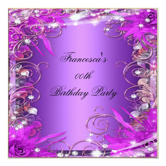 Elegant Birthday Party Silver Pink Purple Card