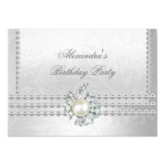 Elegant Birthday Party Silver White Diamond Pearl Card