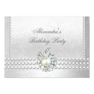 Elegant Birthday Party Silver White Diamond Pearls Card