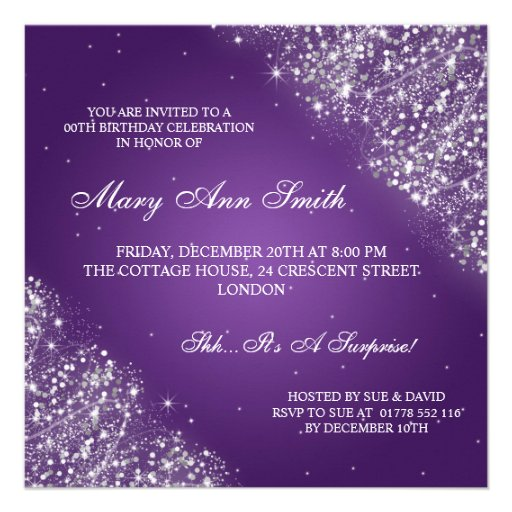 Elegant Birthday Party Sparkling Glitter Purple Invitations