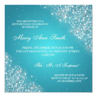 Elegant Birthday Party Sparkling Glitter Turquoise 13 Cm X 13 Cm Square Invitation Card