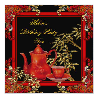 Elegant Birthday Party Tea Red Gold Bamboo Card