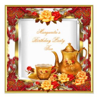 Elegant Birthday Party Tea Red Gold Orange Roses 13 Cm X 13 Cm Square Invitation Card