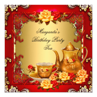 Elegant Birthday Party Tea Red Gold Roses 5.25x5.25 Square Paper Invitation Card