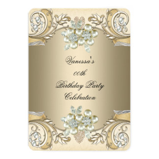 Elegant Birthday Pearl Sepia Coffee Gold 13 Cm X 18 Cm Invitation Card