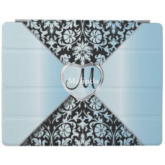 Elegant Black and Aqua Damask Pattern iPad Cover