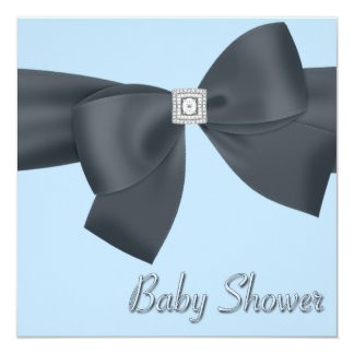 Elegant Black and Blue Baby Shower 13 Cm X 13 Cm Square Invitation Card