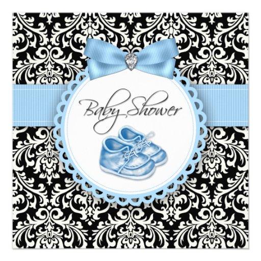 Elegant black and blue damask baby shower invitations zazzle