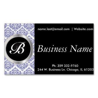 Elegant Black and Blue Damask Magnetic Business Cards