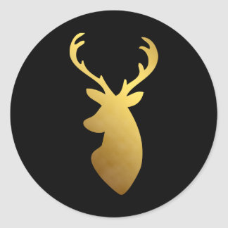 Elegant Black and Faux Gold Foil Deer Head Round Sticker