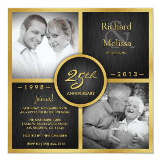 Elegant Black and Gold 25th Wedding Anniversary Invites