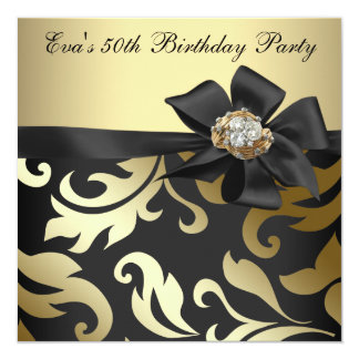 Elegant Black and Gold 50th Birthday Party 13 Cm X 13 Cm Square Invitation Card
