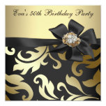 Elegant Black and Gold 50th Birthday Party Custom Announcements