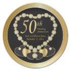 Elegant Black and Gold 50th Golden Anniversary Plate