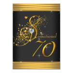 Elegant Black and Gold 70th Birthday Party Invite
