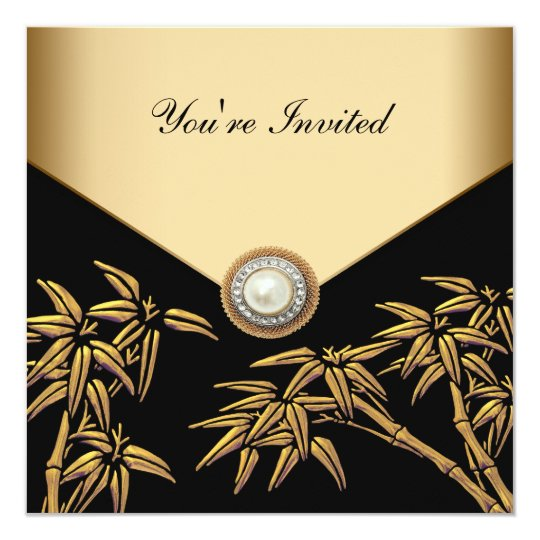 Elegant Black and Gold Bamboo Party Card