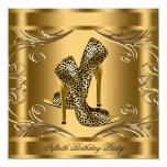Elegant Black and Gold Birthday Party Custom Announcement